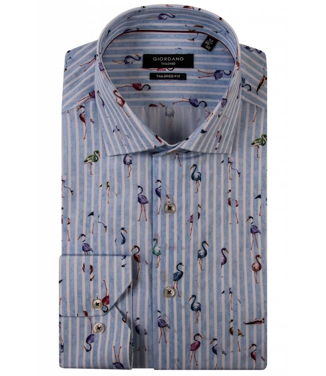 Giordano Hemd mit Flamingos - Blue