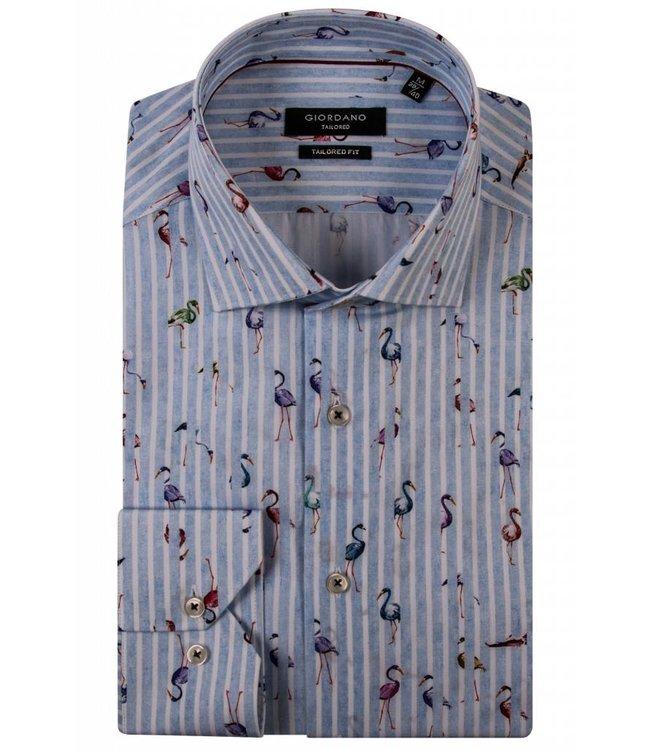 Giordano Shirt with Flamingo's - Blue