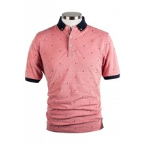 Piqué Polo Shirt with Minimalistic Print - Pink