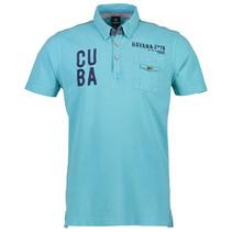 Kurzarm Poloshirt in Piqué - Light Blue