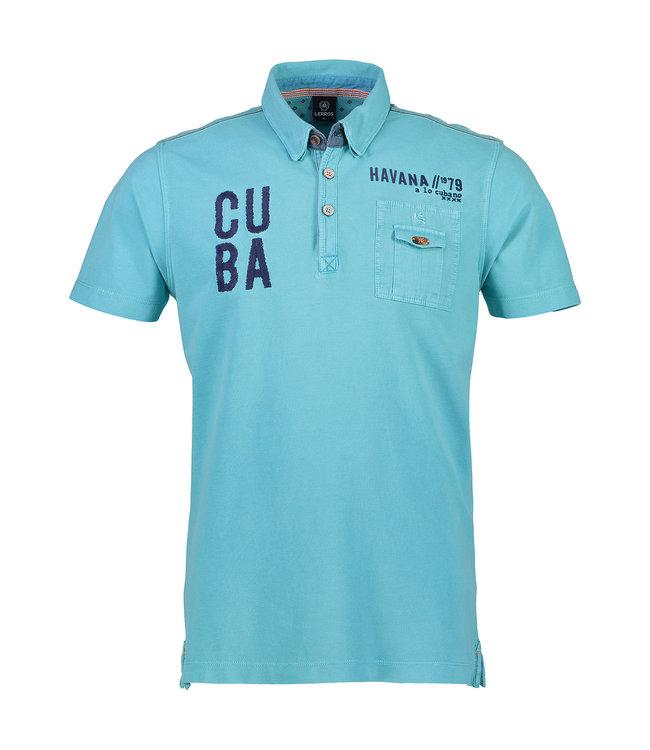 Lerros Kurzarm Poloshirt in Piqué - Light Blue