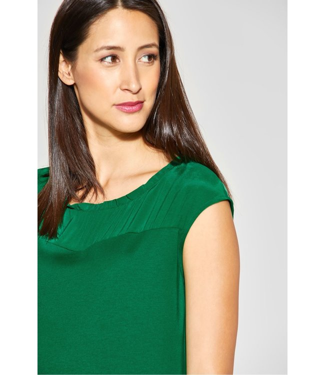 Street One Shirt met Ruches - Pure Green