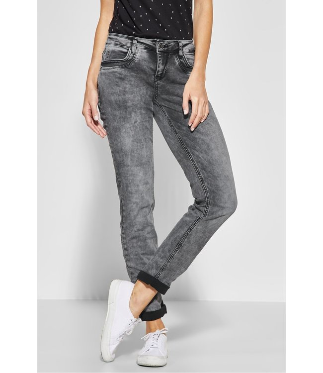 Street One Casual Fit Denim Jane - Black Overdyed Bleached