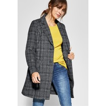 Long Wool Coat with Checkered Print - Black