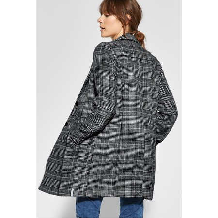 Cecil Long Wool Coat with Checkered Print - Black