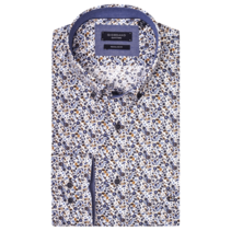 Shirt with Small Flowers - Dark Navy