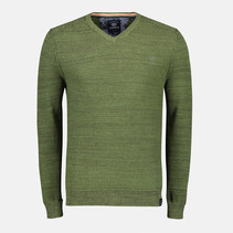 V-Neck Sweater with Structure - Green