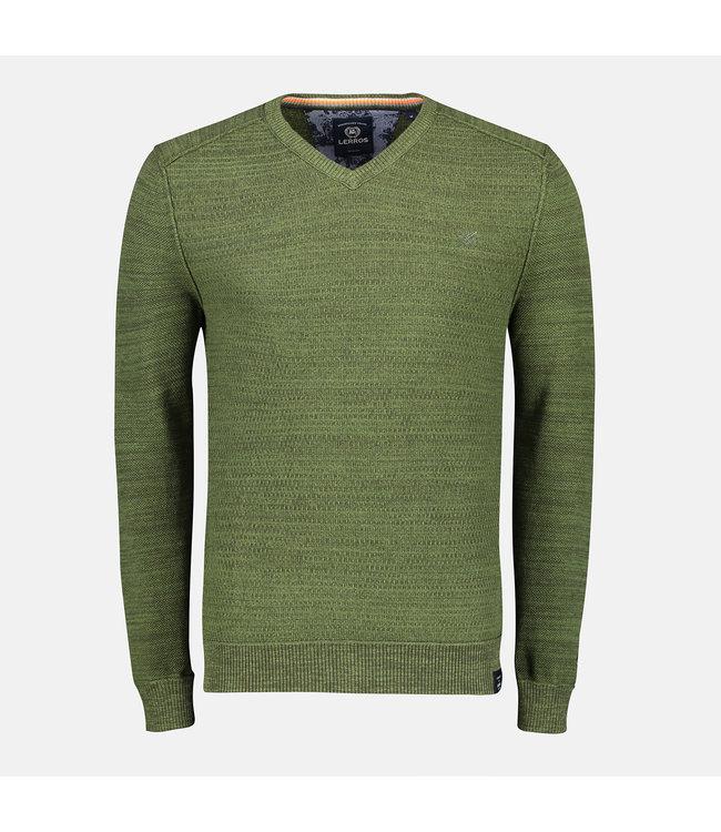Lerros V-hals Pullover met Ribstructuur - Green