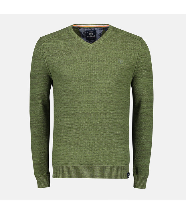 Lerros V-Neck Sweater with Structure - Green