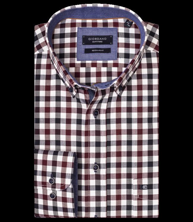 Giordano Shirt with Check - Dark Navy