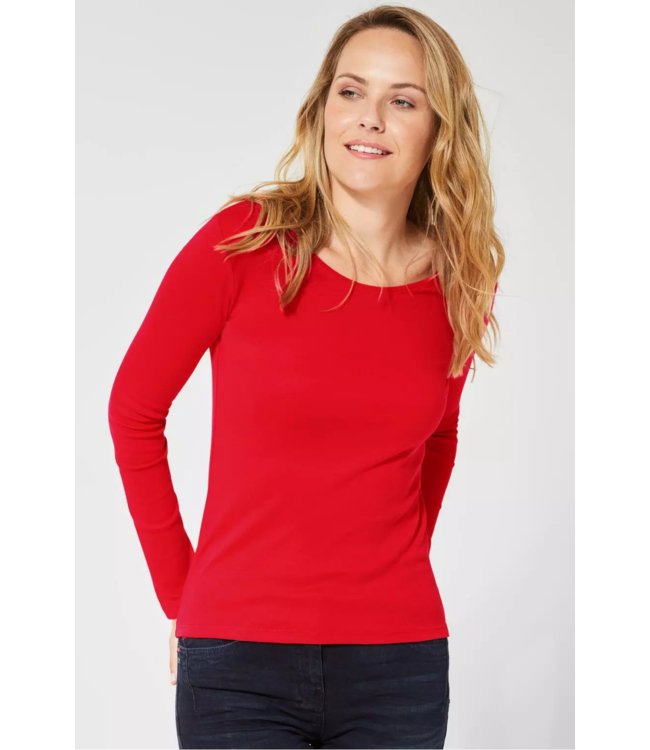 Cecil Basic Langarm Shirt Pia - Pumpkin Orange