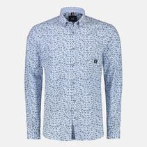 Langarm Hemd Allover Print - Aqua Blue