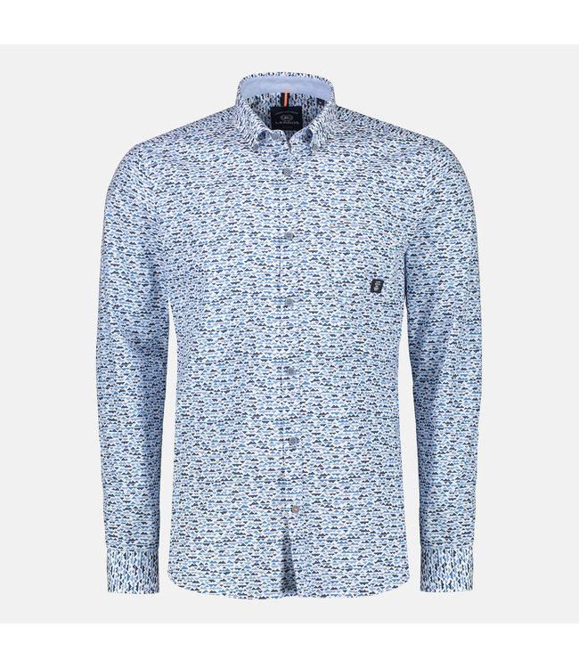 Lerros Langarm Hemd Allover Print - Aqua Blue