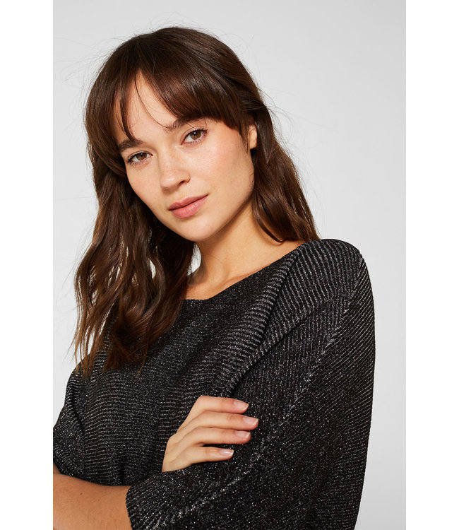 Esprit Shimmering Sweater with Bat-Wing Sleeves - Black