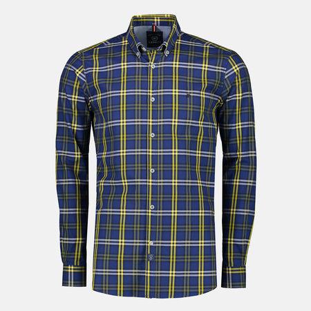 Lerros Geruit Twill Overhemd - True Blue