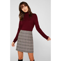 Stretch Skirt with Check Print - Taupe
