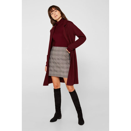 Esprit Stretch Skirt with Check Print - Taupe