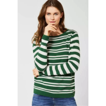Sweater with Stripes - Fresh Meadow Green