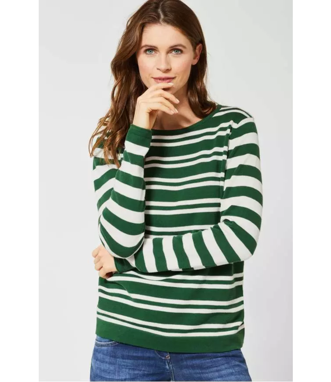 Cecil Sweater with Stripes - Fresh Meadow Green