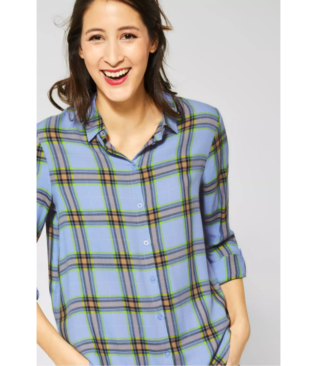 Street One Blouse with Check - Heaven Blue