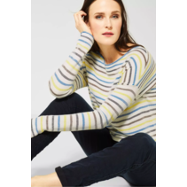 Sweater with Stripes - Pure Off White