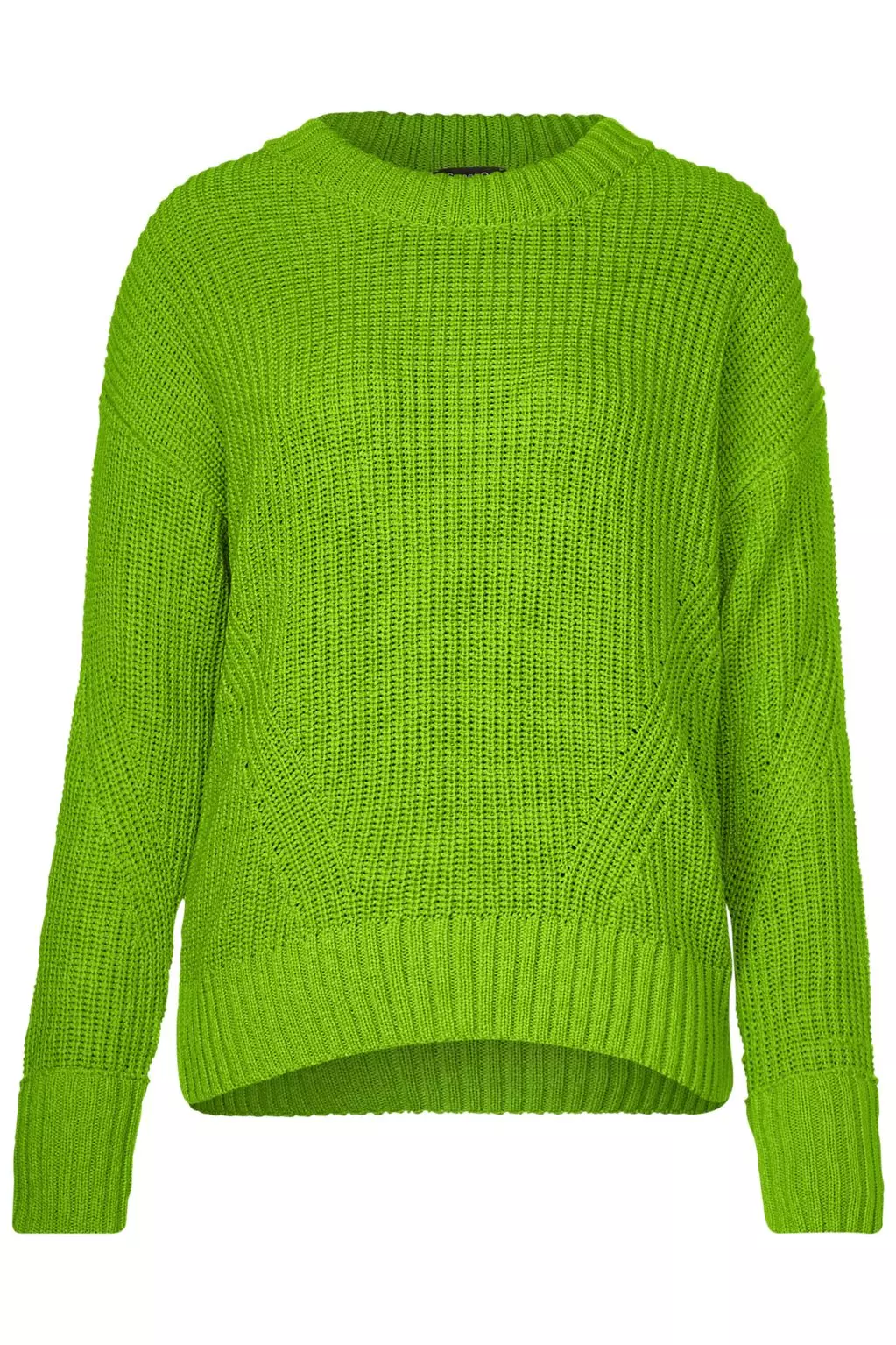 Knitted Sweater in Striking Color Flash Lime