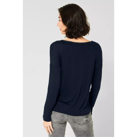 Street One Shirt met Glitter Tekst - Deep Blue