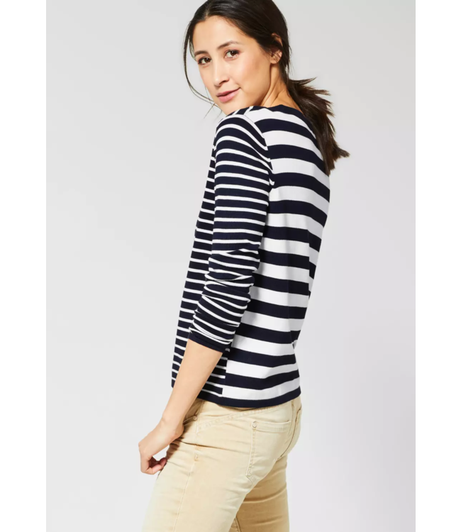 Street One Sweater with Stripes Hilde - Deep Blue