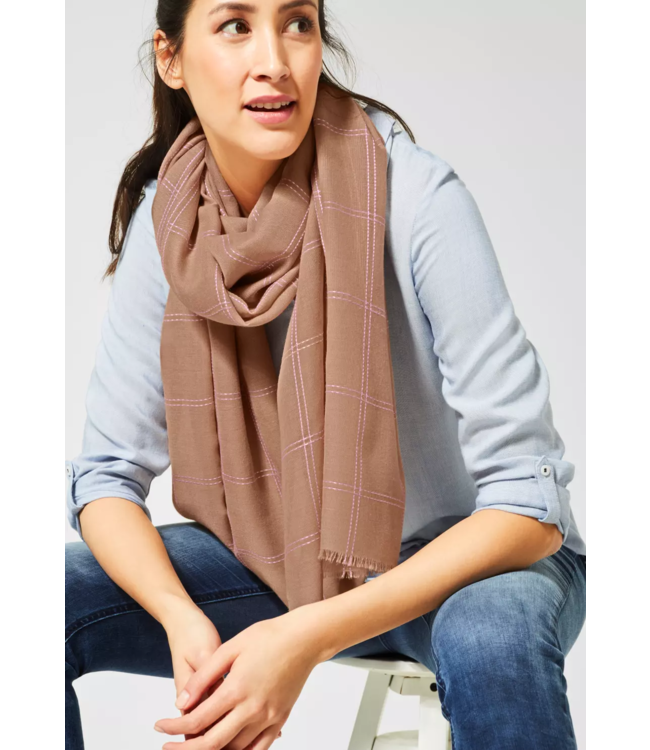 Street One Scarf with Check Print - Easy Camel
