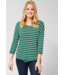 Cecil Shirt with Structured Stripes - Lucky Clover Green