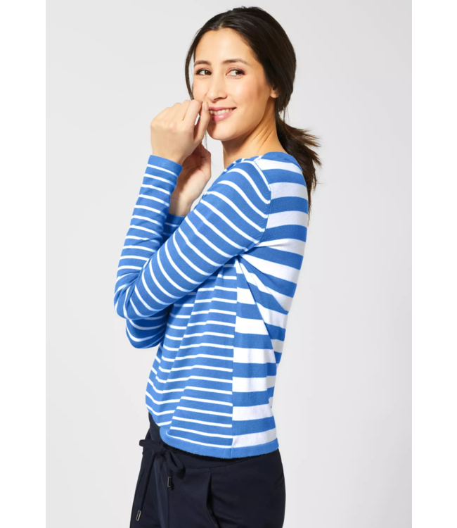 Street One Sweater with Stripes Hilde - Spring Blue