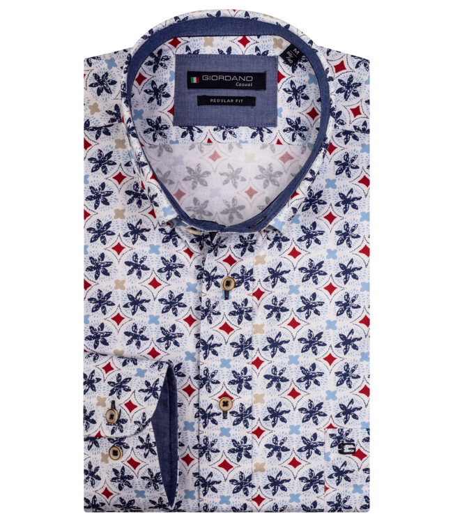 Giordano Overhemd Buttown-Down met Print - White
