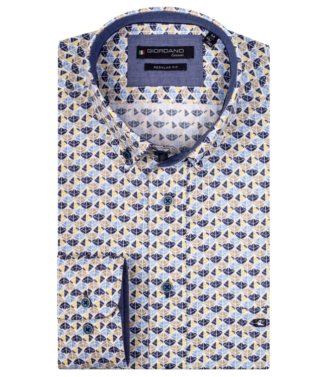 Giordano Shirt Button-Down with Print - Yellow