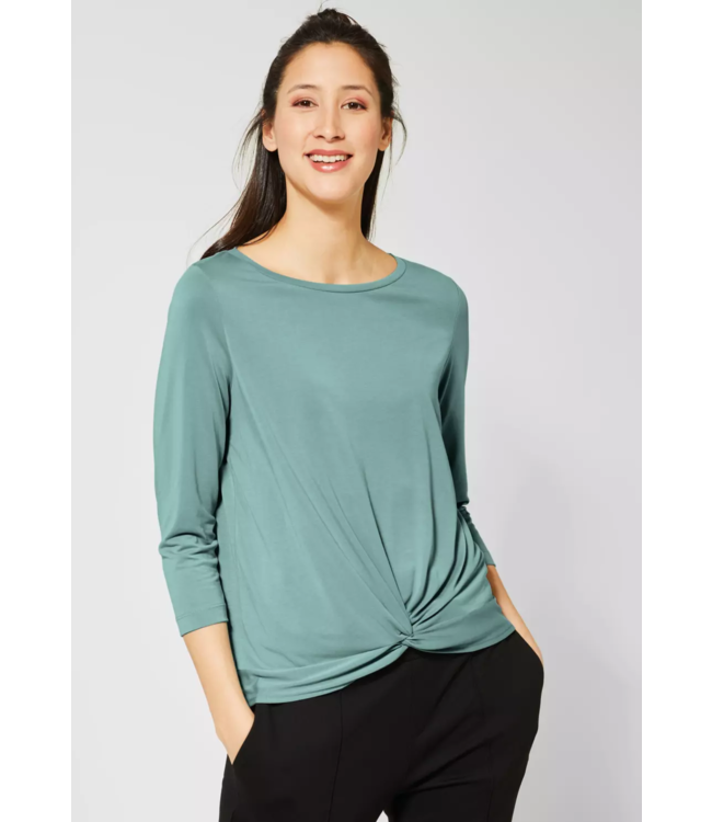 Street One Shirt with Bow-Detail - Thyme Jade