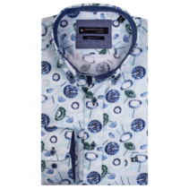 Shirt with Short Sleeves and Print - Aqua Blue