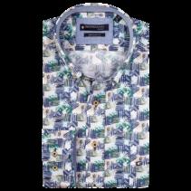 Kurzarm Hemd mit Print - Dark Green