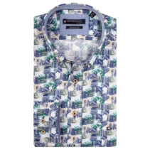 Shirt with Short Sleeves and Print - Dark Green
