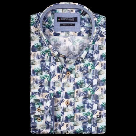 Giordano Overhemd Korte Mouw  met Print - Dark Green