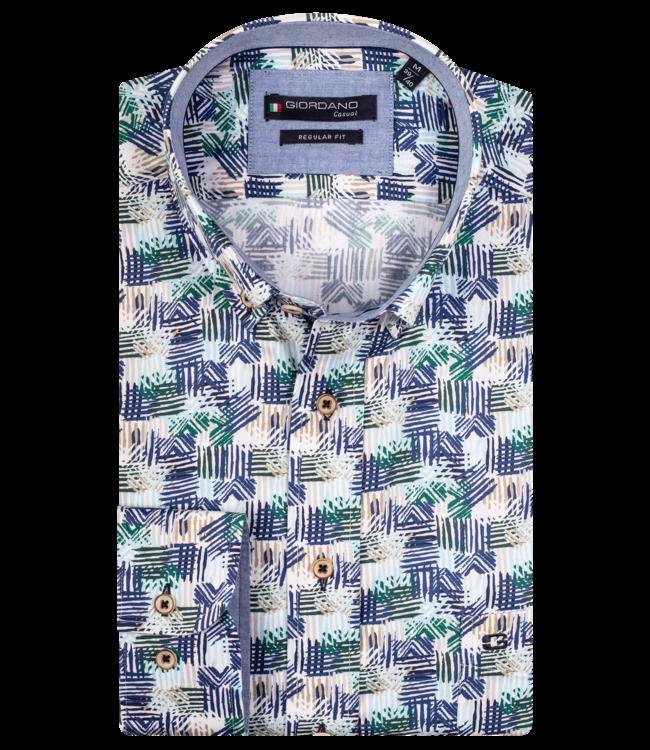 Giordano Kurzarm Hemd mit Print - Dark Green