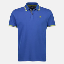 Poloshirt with Contrast-Details - Cornflower Blue