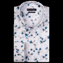 Kurzarm Hemd mit Print - White