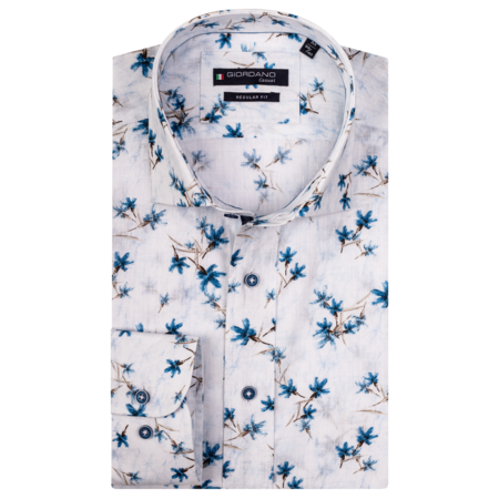 Giordano Shirt with Short Sleeves and Print - White