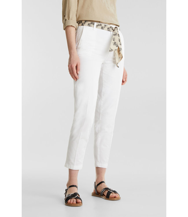 Esprit Ankle Chino with Belt - White