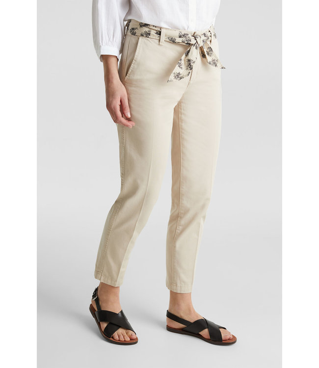 Esprit Ankle Chino with Belt - Light Beige
