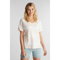 Met Linnen: Shirt met Dubbele V-hals - Peach