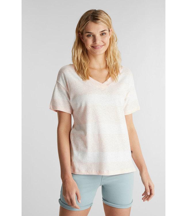 Esprit Met Linnen: Shirt met Dubbele V-hals - Peach
