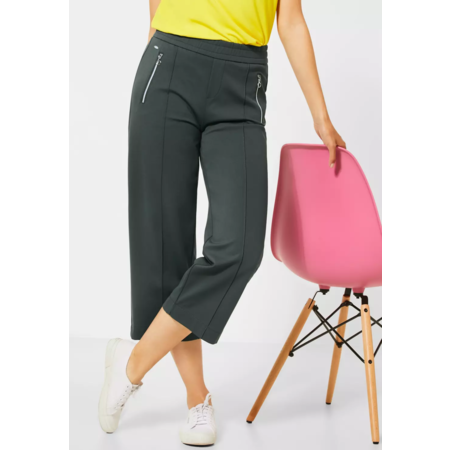 Street One Pants with Wide Leg and Zipper Emee - Comfort Green
