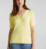 Esprit With Linen: Sweater with Button Closure - Lime Yellow
