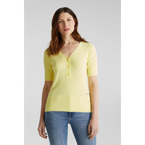 With Linen: Sweater with Button Closure - Lime Yellow