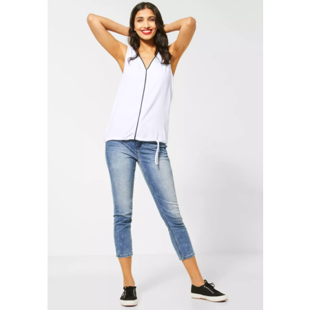 Street One Top with V-Neck Ayla - White